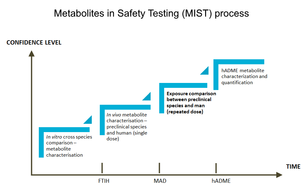 Description of the MIST (Metabolites in Safety Testing Process) factoring in time and confidence level in the process.